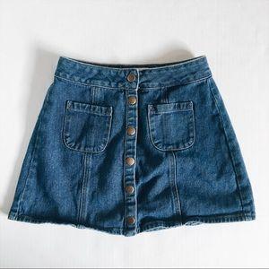 Brandy Melville Denim Mini Blue Button Skirt